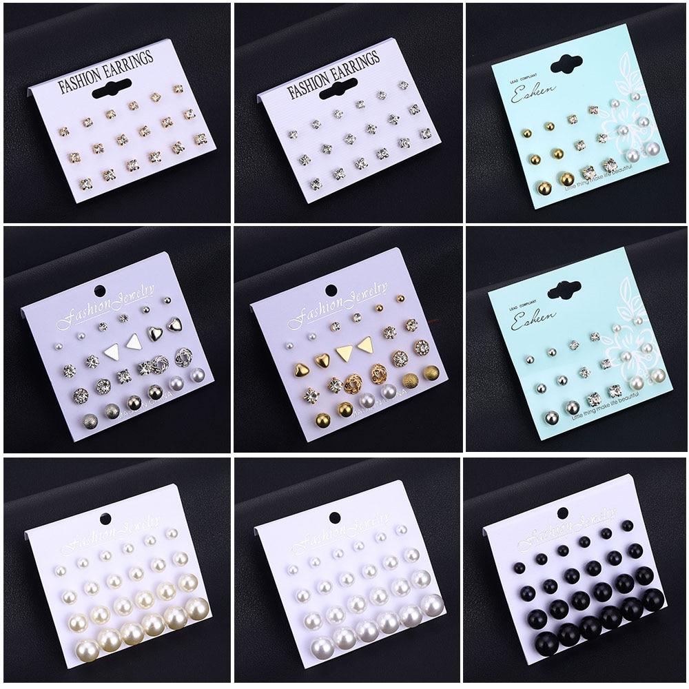 Набор серег-гвоздиков IPARAM с различными искусственными жемчужинами и кристаллами, модные геометрические женские серьги, 2020, ювелирные издел...