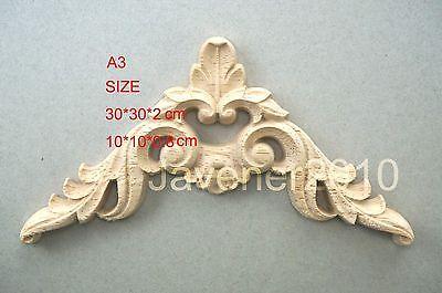 A3-10x10x0.8cm Wood Carved Corner Onlay Applique Unpainted Frame Door Decal Working Carpenter Flower