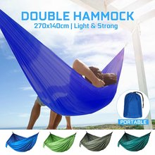 Portable Outdoor Camping Double Hammock High Strength Hanging Bed Travel Hunting Survival Hammock Sleeping Outdoor Garden Swing(China)