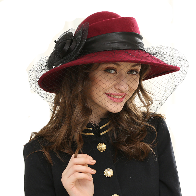 Wide Brim Veil Fedora Hat Wool Felt Jazz Hat Winter Autumn Ladies Bow Fedora Cap For Women Ladies Fashion Church Wedding Hats