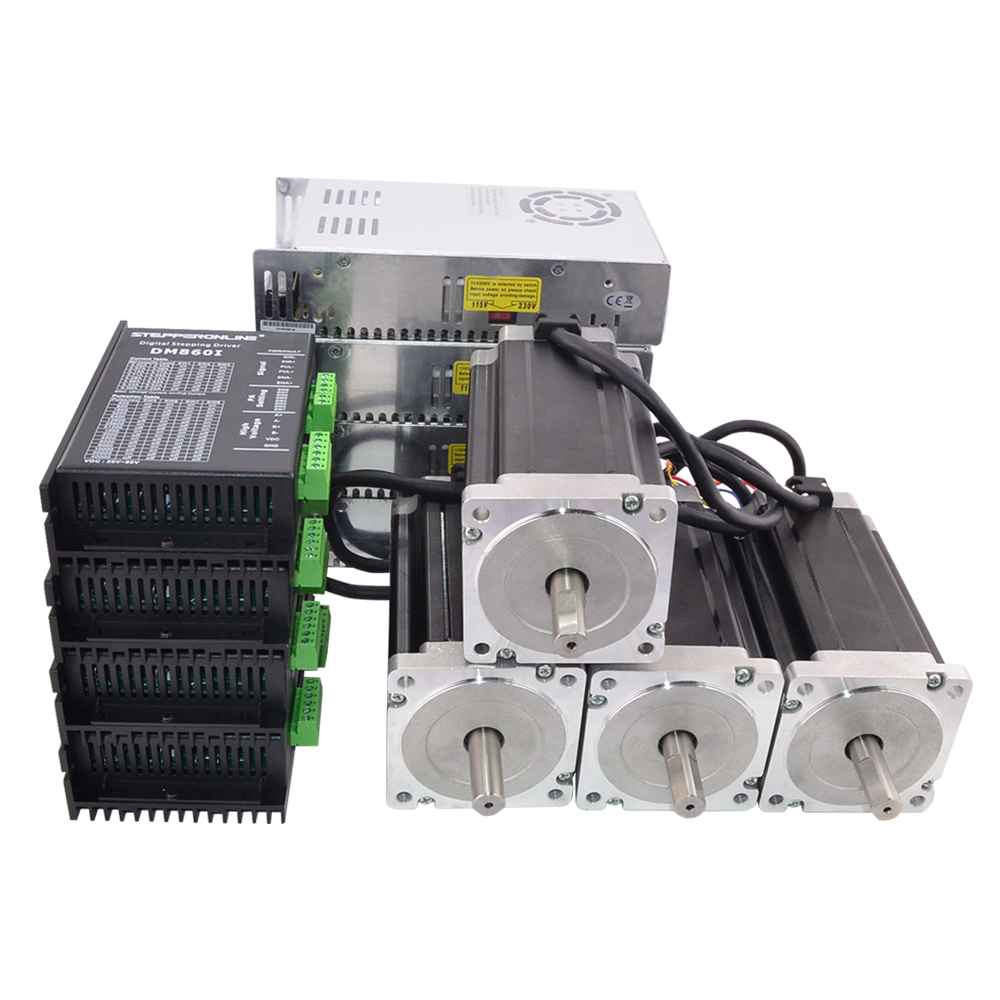 4 assi Router di CNC Kit 13.0Nm (1841oz. in) Nema 34 Motore Passo-passo e Driver