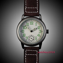 New 44mm parins White dial Stainless steel Case Stainless steel Case 17 jewels 6498 Movement hand winding Mechanical Men's Watch