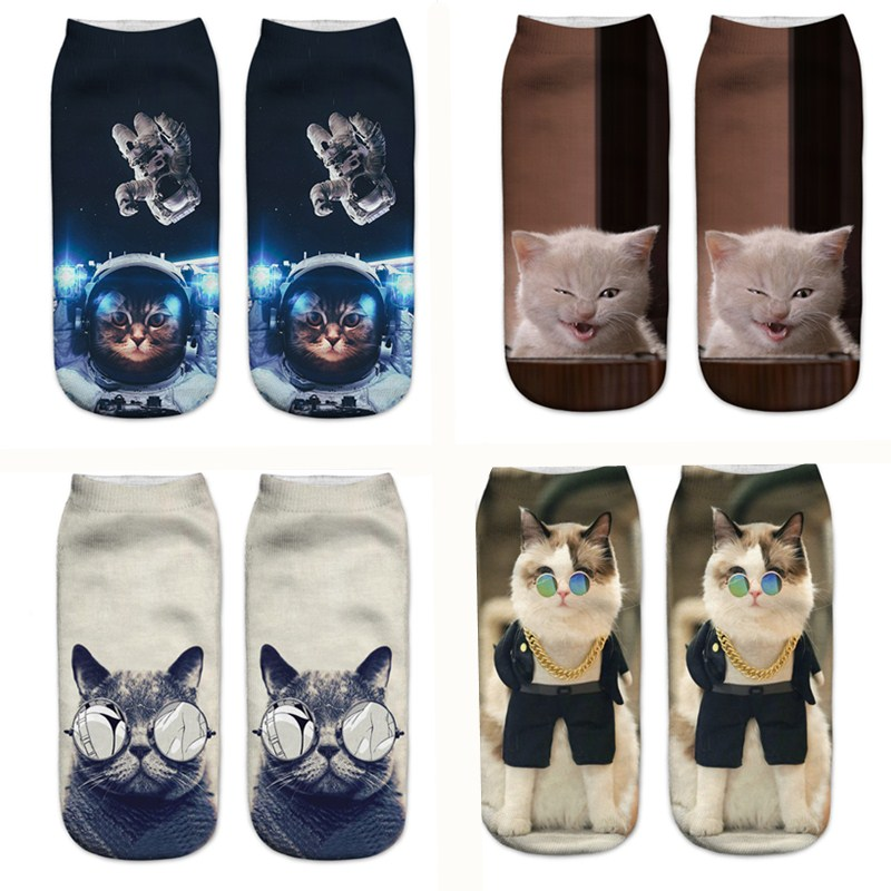 SLMVIAN 3D Printing Love Cat Women Socks Brand Sock Fashion Unisex Socks Cat Pattern Meias Feminina Funny Low Ankle HOT