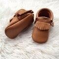 Tan Couro Genuíno Mocassins Criança Handmade Do Bebê Primeiro Walker