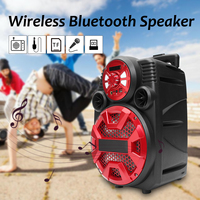 Led Lights bluetooth DJ Speaker Wireless Stereo Subwoofer Heavy Bass Speakers Music Player Support LCD AUX FM Radio TF Cards