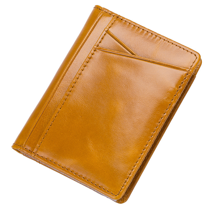 Fashion Oil Wax Cowhide Card Holder Genuine Cow Leather Cardholder Case Mini Card Pocket Bag Pouch Business Travel Cards Wallets