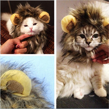 Funny Cute Pet Costume Cosplay Lion Mane Wig Cap Hat for Cat Halloween Clothes Fancy Dress with Ears Autumn Winter