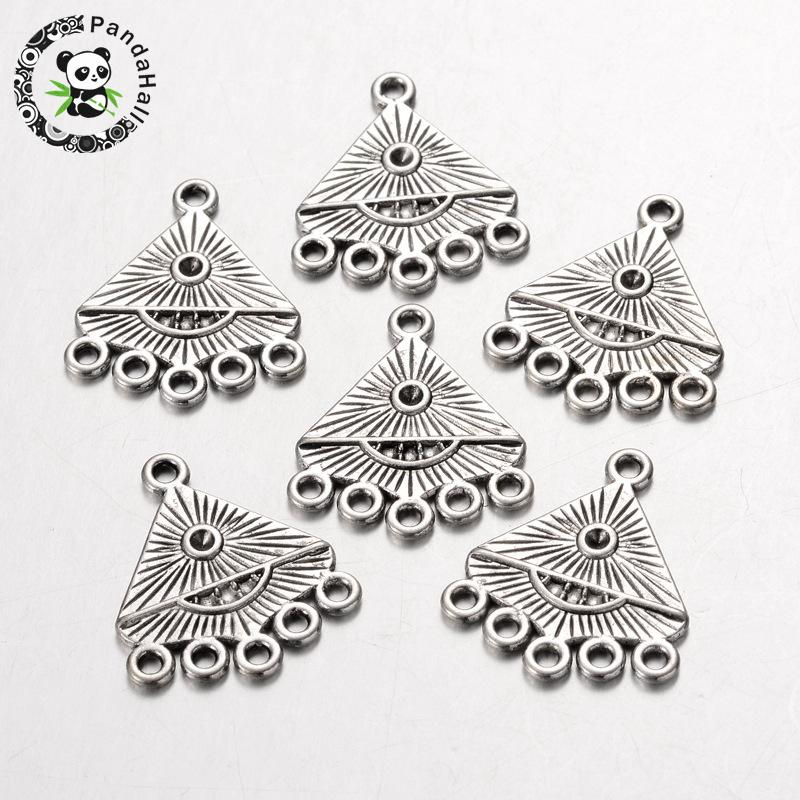Alloy Connector Rhinestone Settings, Chandelier Components, Lead Free and Cadmium Free, Triangle, Antique Silver, about 20mm