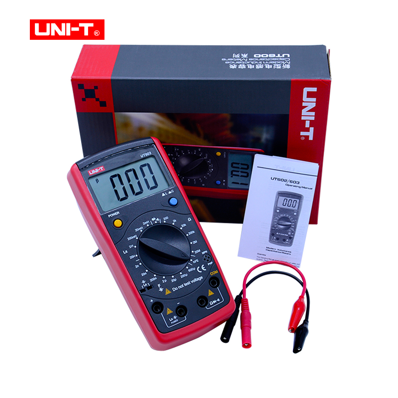 UNI-T UT603 Resistance Inductance Capacitance Meters Testers LCR Meter Capacitors Ohmmeter Tester continunity buzzer uni t ut603 2 7 lcd digital inductance capacitance tester red grey 1 x 9v