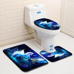 Лошадь Пони единорог печатный набор ковров для ванной комнаты 3D мягкие фланелевые полиэфирные волокна моющиеся быстро сохнут ванная
