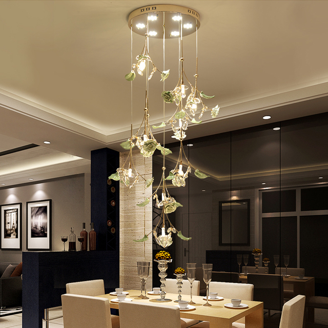 LED Living Room Pendant Lights Modern Minimalist Ceramic Crystal Bedroom  Light Dining Room Stairs Spiral Pendant