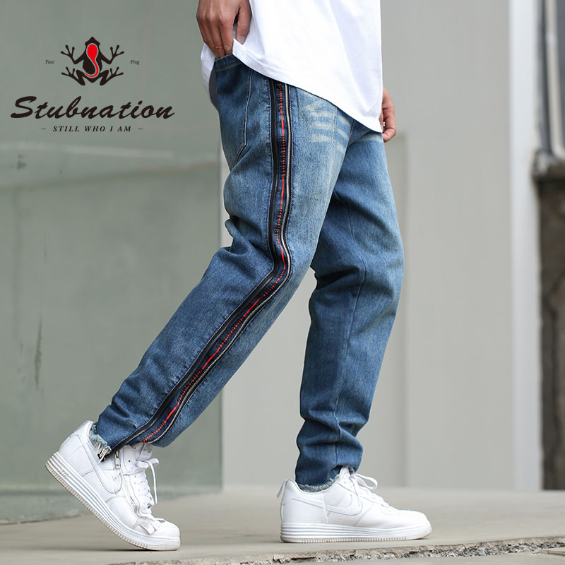 Stubnation 2018 Side Fake Zippers Denim Jeans Mens Hip Hop Swag Jeans Long Trousers Fashion Jeans high quality mens jeans ripped colorful printed demin pants slim fit straight casual classic hip hop trousers ripped streetwear