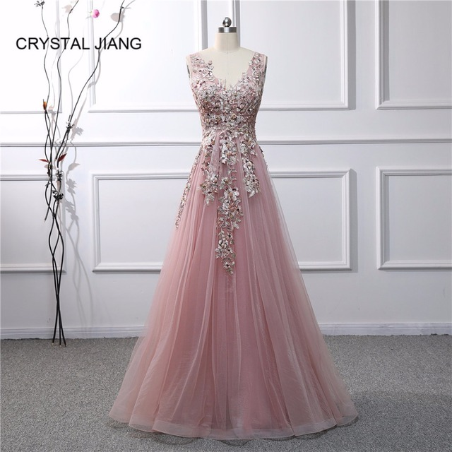 Robe de soiree 2019 New Arrival Sexy V Neck Embroidery Lace Applique Beaded  Natural Waist A Line Formal Long Evening Dresses 47f6c0baa447