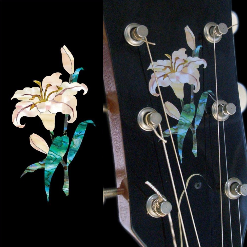 Jockomo Inlay Sticker Decals For Guitar Headstock In Abalone Theme - Lily