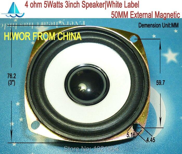 2pcs Acoustic Loudspeaker 4ohm 5W 3 Inch Speaker White Label 50MM External Magnetic