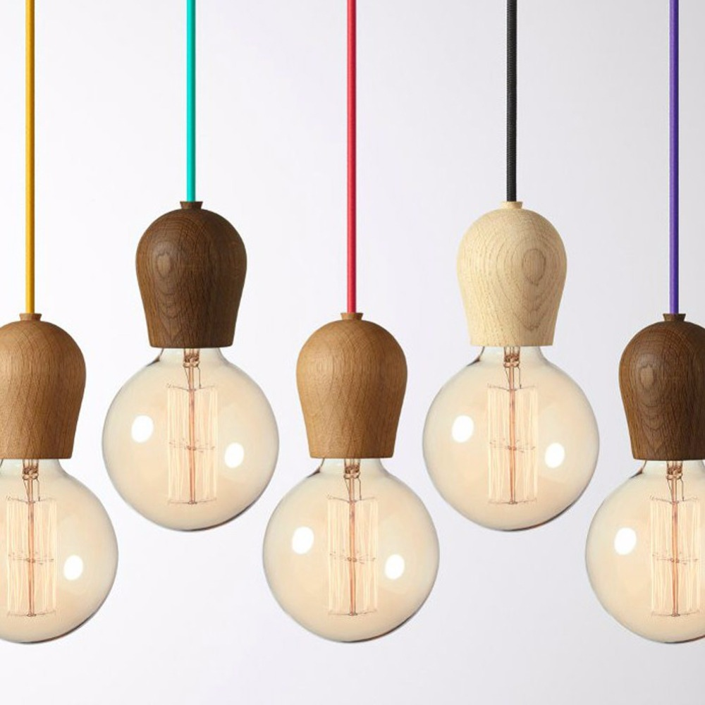 Modern oak wood pendant lights vintage cord pendant lamp hanging light fixtur - Cable suspension luminaire ...