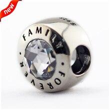 Se adapta a pandora pulseras familia siempre de plata cuentas con clear cz 100% plata de ley 925 encantos de la joyería diy 08390