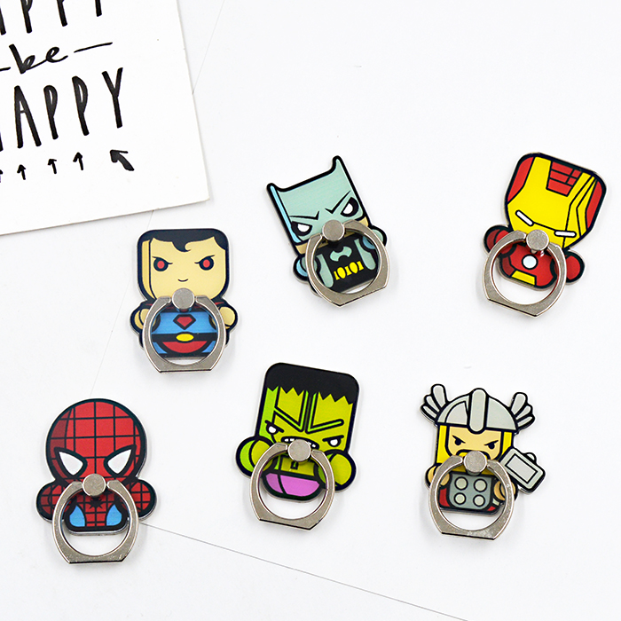 Giancomics 1pcs HOT Marvel Cell Phone Ring Cool Hero Spiderman Figure 360 Degree Finger Ring Stand for Mobile Phone Accessories