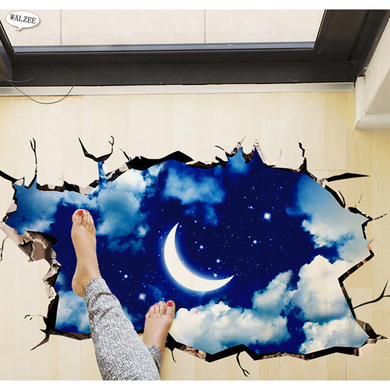 3d Outer Space Moon Stars Planet Wall Sticker Kid Baby