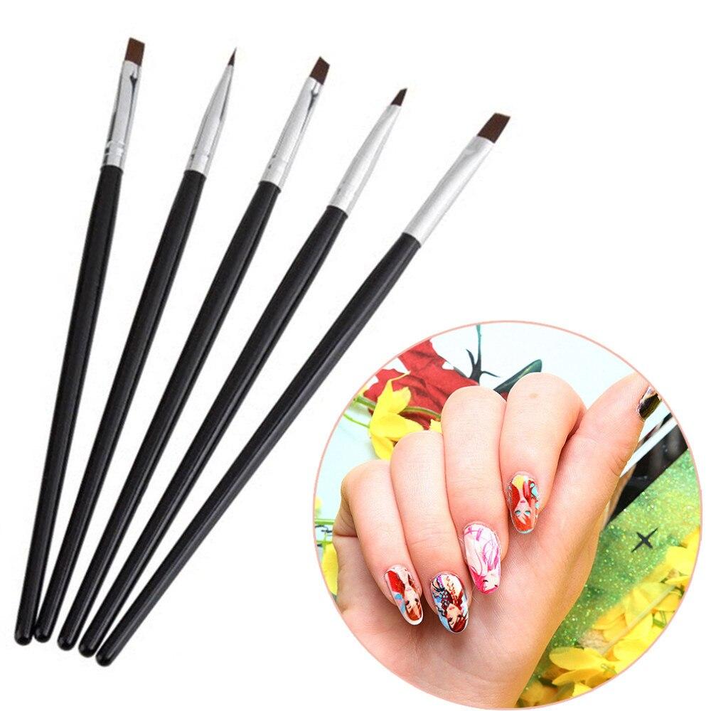 Nail Art Brush: Makartt 5 Sizes/Set Flat Painting Drawing Pen Nail Art