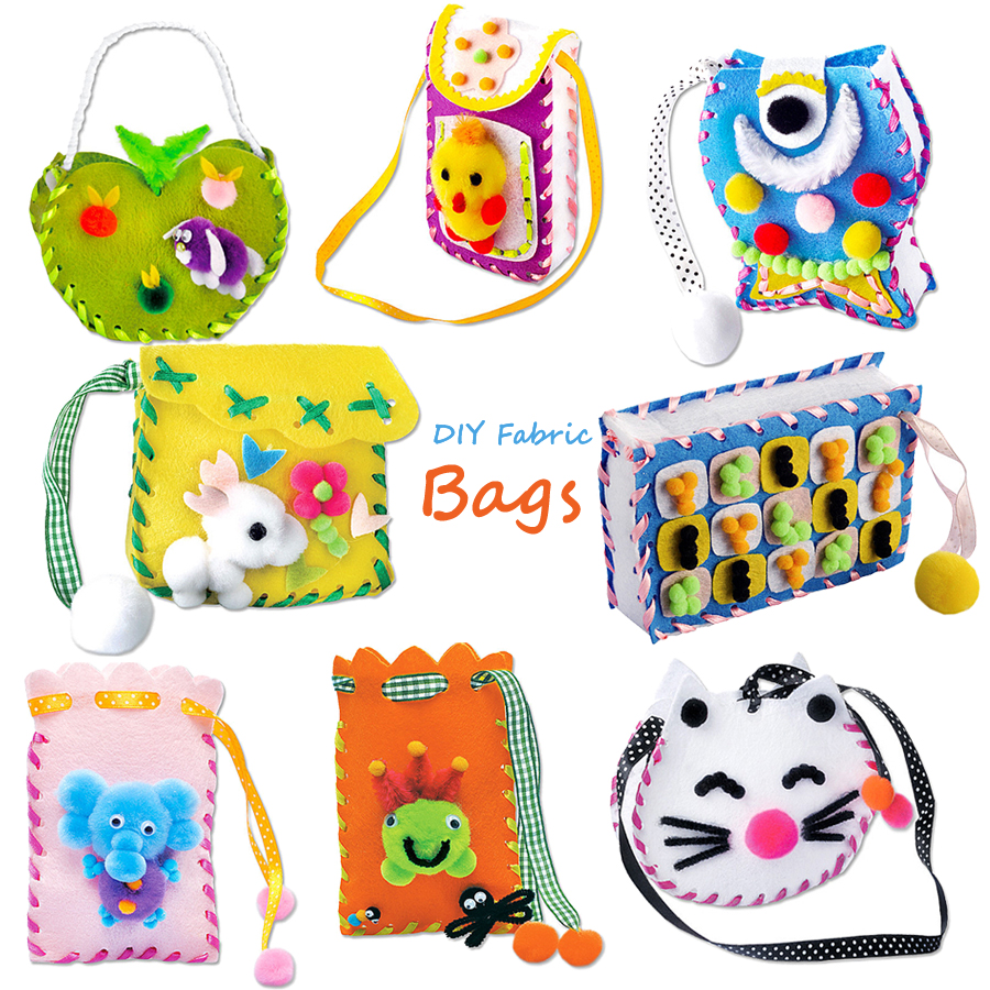 DIY Handmade Felt Fabric Sewing Kit For Kids Beginners,Sewing Project Pattern Bag Handbag Art & Crafts Educational Kid Toys