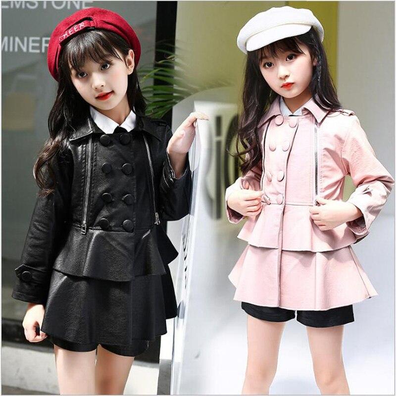 Children Leather Clothes jacket for Girls Kids Winter Fashion Coat Girls Waterproof Jacket Children Costumes Student Girl Jacke girl