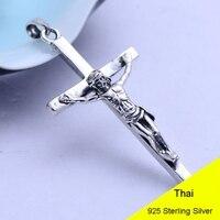925 Sterling Silver Retro Jesus Cross Crucifix Necklace Pendant Men Thai Silver Fine Jewelry Gift CH024577