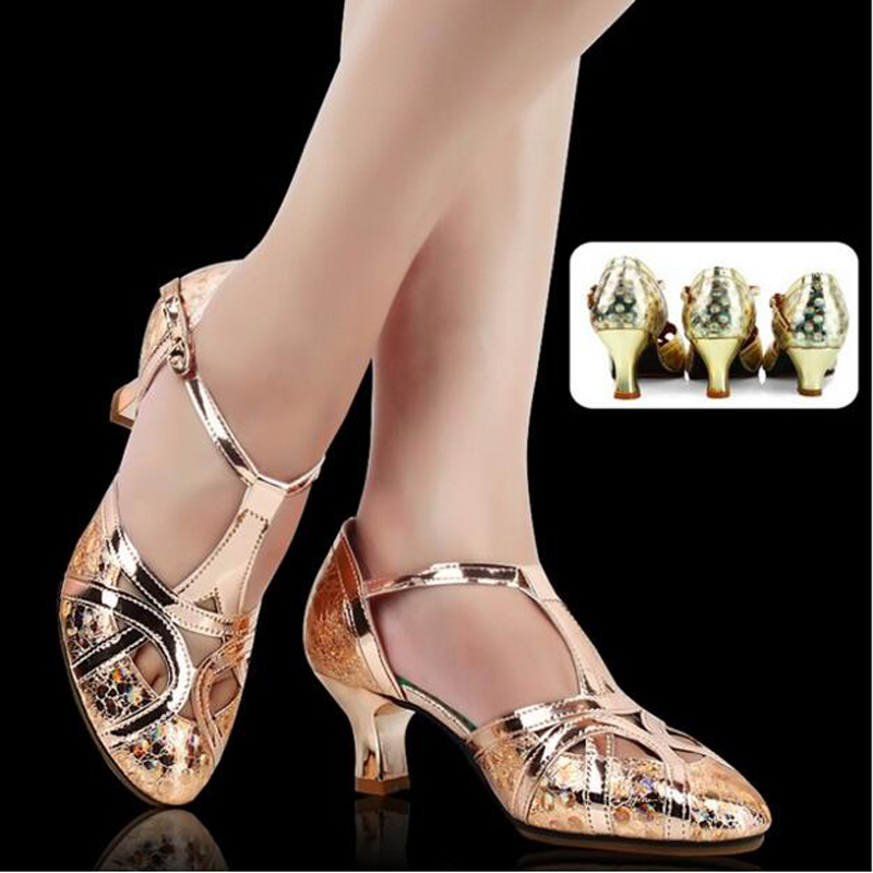 Women's Glitter Leather Latin Dance Shoes Closed Toe Soft Sole Salsa Modern Shoe Tango Ballroom Dancing Shoes 3.5/5.5/6.5cm Heel