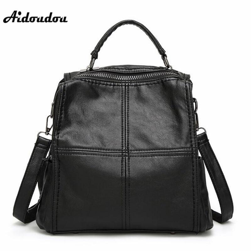AIDOUDOU Multifunctional Fashion Backpacks Soft Leather Travel Shoulder Bags Women s Backpacks Mochila School Bags for