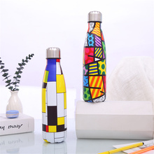 Colorful Water Bottle Creative Printed Insulated Cold Cup Stainless Steel Thermos Home Outdoors Vacuum Flask