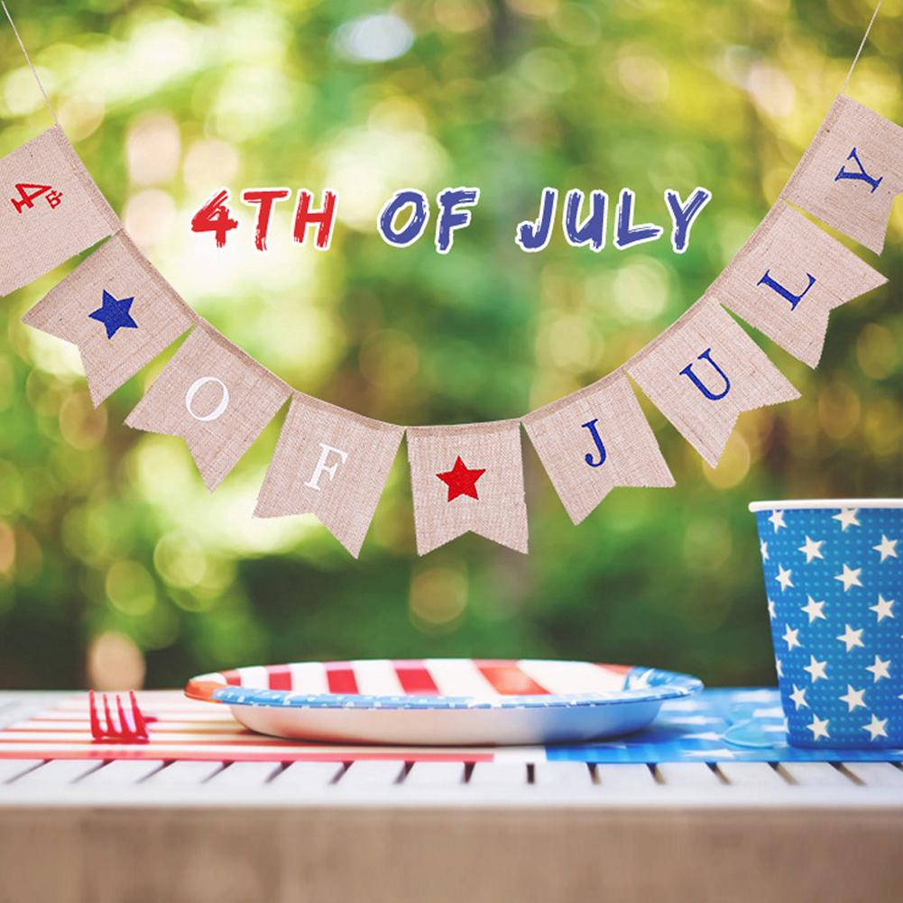 Fashion Independence Day Bunting Flag 4th Of July Letter