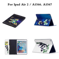 For IPad Air 2 Ipad6 A1566 A1567 Owl Panda Pattern Magnetic Snap Tablet Cases Cover Wallet