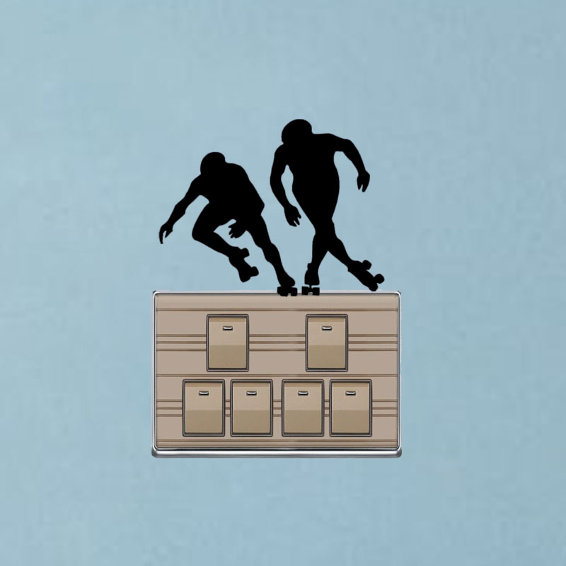 WANGZHIMING ROLLER DERBY SILHOUETTES Wall Sticker Gym Home Room Vinyl Switch Sticker 7SS0399 ...