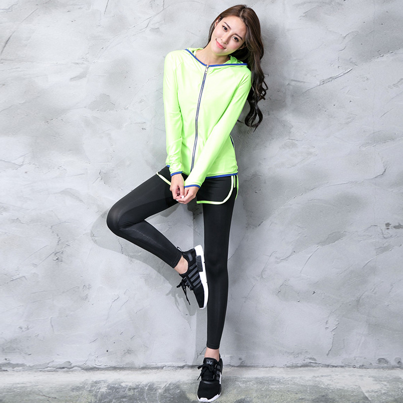 Autumn and Winter Coat Suits Sports Leisure Shockproof Bra Quick-drying Fitness Yoga Suit Female Three-piece Running fashionable women s sports bra mesh perspective tank top black leggings three piece suit