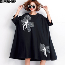 DIMANAF Summer Women Plus Size Dress Cotton Black Female Vestidos Casual Fashion Big Appliques Loose Fit 5XL 6XL 2019