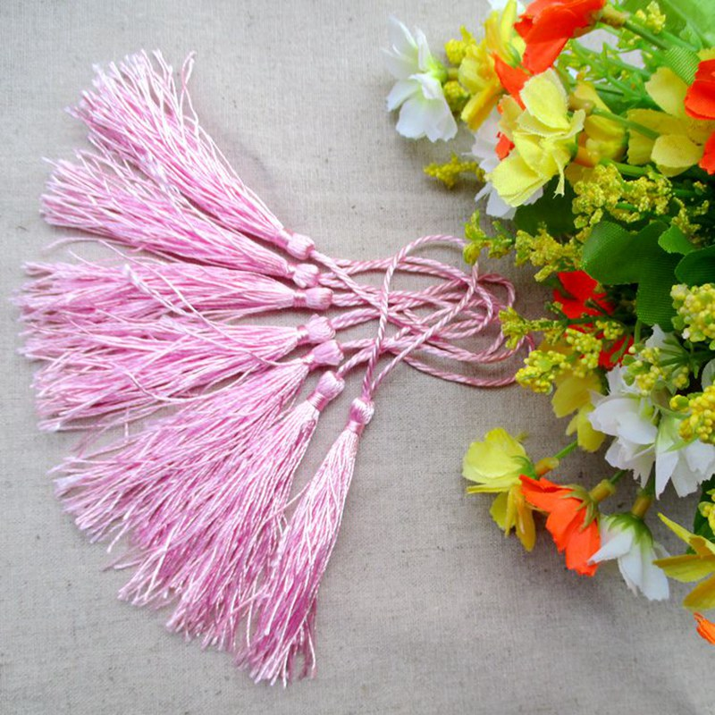 100pcs/lot about 12.5cm pink color polyester Charm tassel for home decore curtain fitting bookmark curtains 209