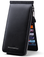 WilliamPOLO 2019 Wallet for Men Women Credit Card Holder Long Ultrathin Genuine Leather Organizer Phone Purse with Zipper Pocket