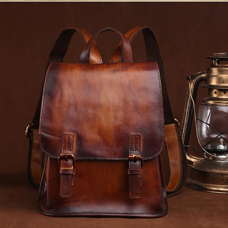 Women High Quality Cowhide Vintage Backpack School Rucksack Casual Bag Large Capacity Ladies Genuine Leather Travel Daypack