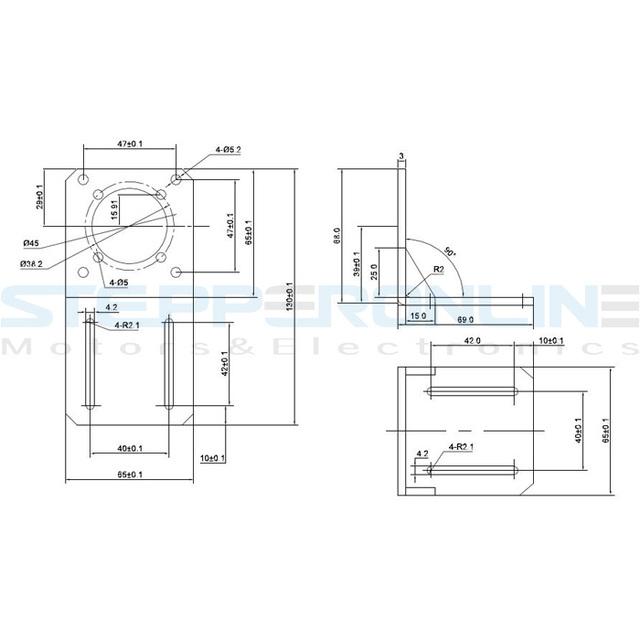 1PC Nema 23 Mounting Bracket 57 Stepper Motor Bracket Alloy Steel for Hobby CNC/3D Printer