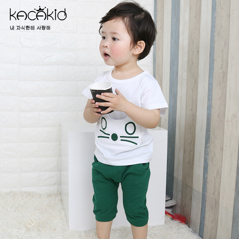 Girls Sport Tops Clothes Sets 2 years Baby Boys Cotton Cat Cartoon T-Shirts+Shorts Overalls Suit for Summer Children Clothing