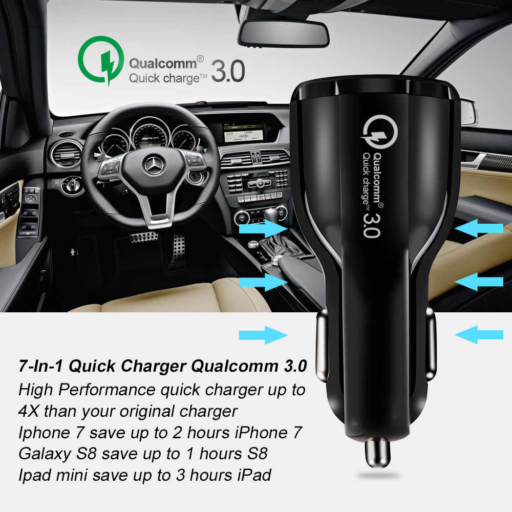 XEDAIN 3.1A 2 port USB Car Charger Quick Charge 3.0 Phone Car-charger adapter for Samsung Xiaomi iphone Car Phone Charging cable
