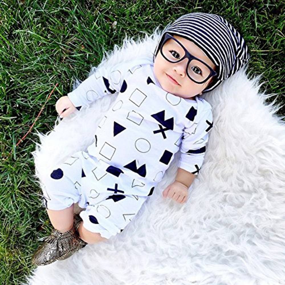 Fashion Baby Unisex Bodysuit Longsleeve Tops+Legging Pants+Hat Outfit Sets
