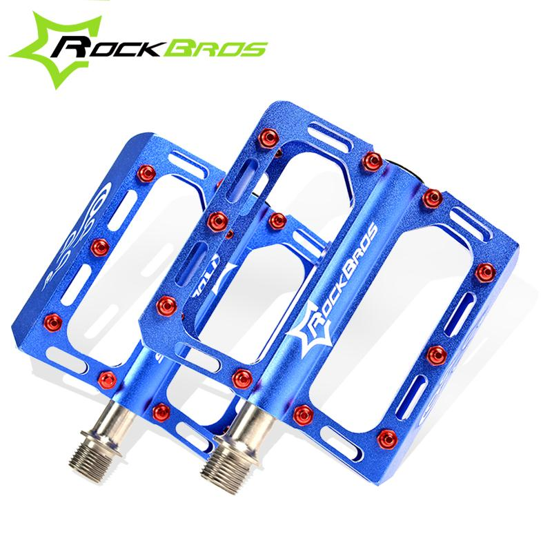 ROCKBROS Bike MTB Pedals Magnesium Alloy Titanium Spindle Platform Pedals Cycle Bicycle Cycling 9/16 Sealed Pedales, 5 Colors wellgo aluminum mountain bike pedals double du bearing mtb bicycle pedals 112 9 111 3 21mm anodizing coloration cycling parts