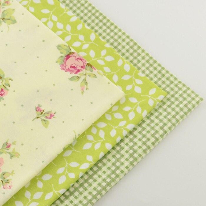 3 unidades verde trimestre grasa 40 cm x 50 cm 100% algodón tela del remiendo qu