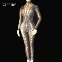 3 Colors Spandex Printed Stretch Jumpsuit Rhinestones One Piece Bodysuit Costume Stage Outfit Singer Dancer Performance