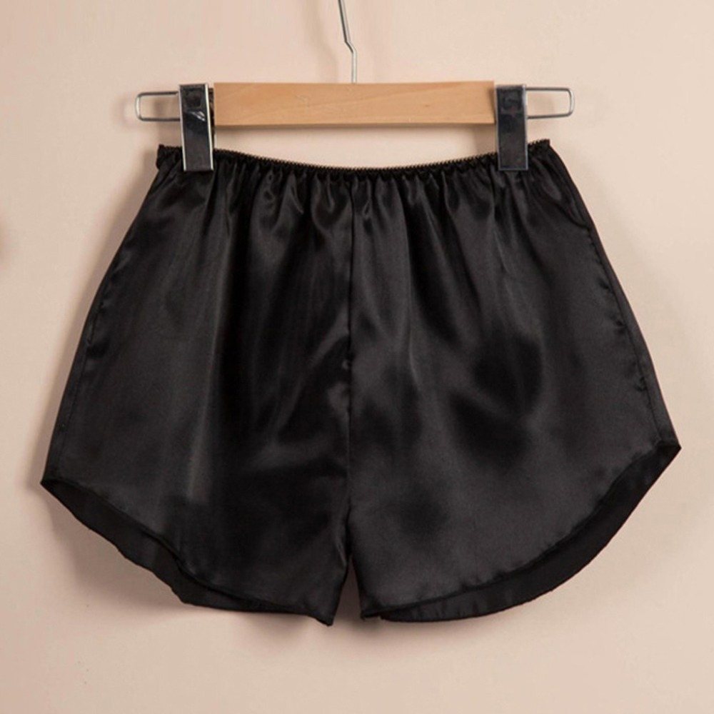 Women Sleep Pant Elastic Silk Waist Satin Shorts Sleepwear Lingerie Pajama Pant#