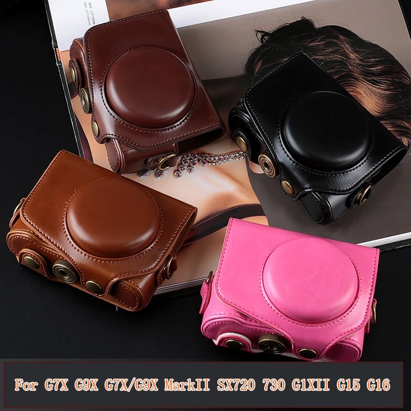 High Quality PU Leather Digital Camera Case Bag Cover For Canon G7X G7X Mark II G9X G9X II G1X II G15 G16 SX720 SX730 and strap
