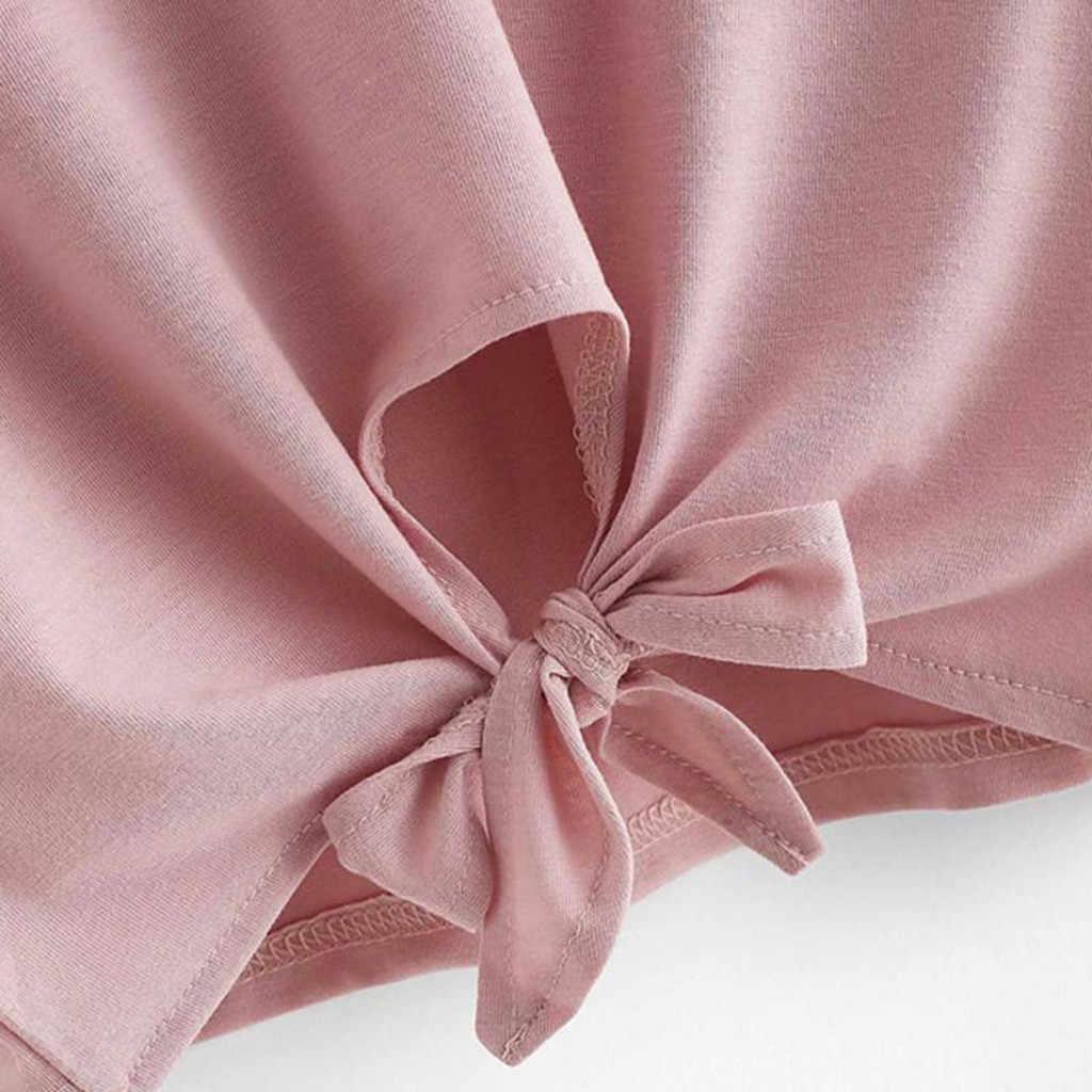 נשים חולצת טי Harajuku O צוואר חלול החוצה קצר Tees מוצק צבע עם שני חסום עם קשת תחבושת קיץ Modis חולצות בתוספת גודל