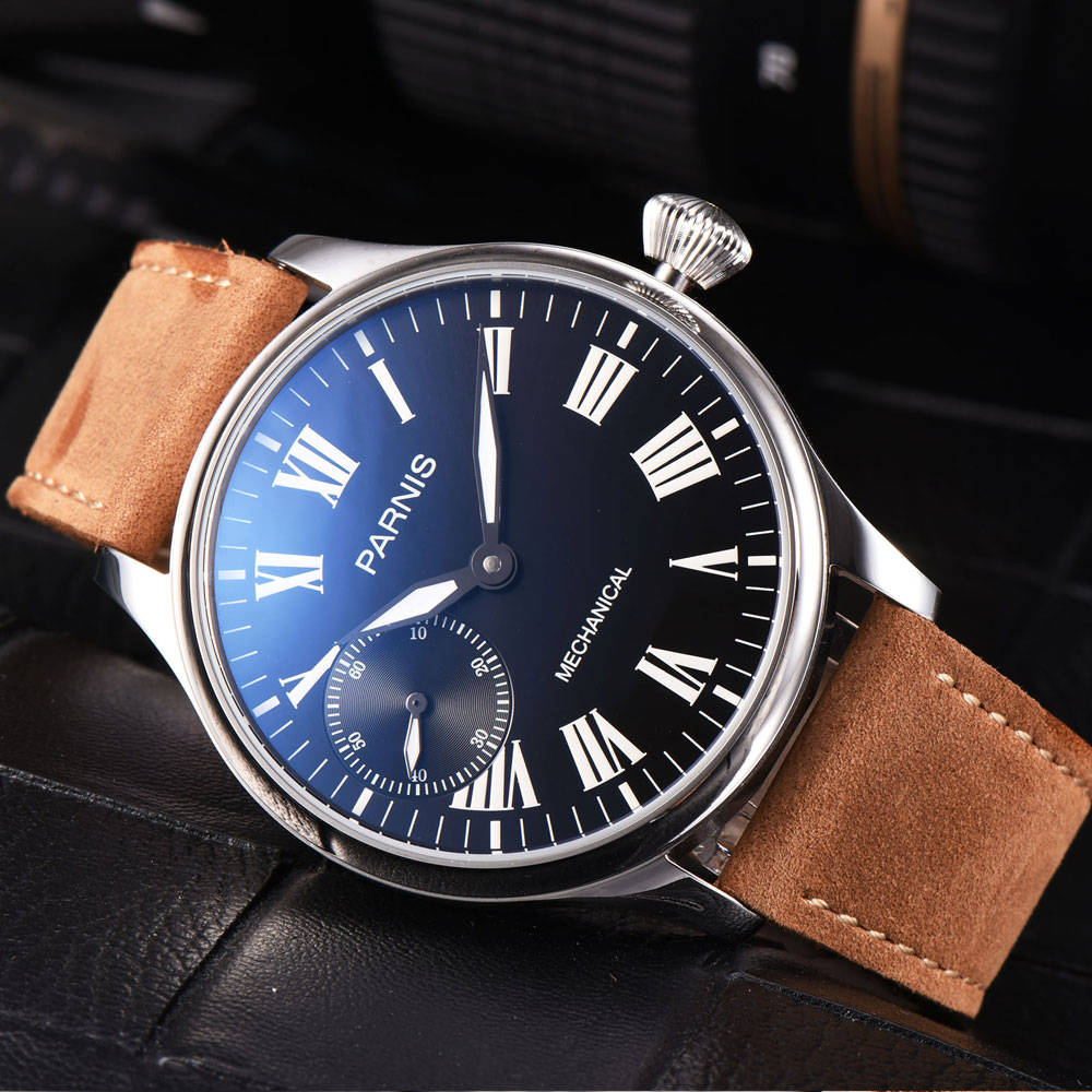 44mm parnis Black Dial SS Case Luminous marks 2018 Romantic Valentines gifts Leather strap 6497 Hands Wind Movement mens Watch44mm parnis Black Dial SS Case Luminous marks 2018 Romantic Valentines gifts Leather strap 6497 Hands Wind Movement mens Watch