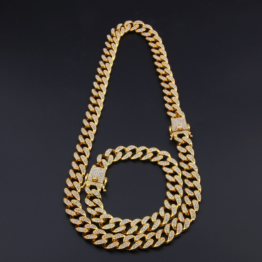 13mm Miami Cuban Link Chain Gold Silver Necklace Bracelet Iced Out Crystal Rhinestone Bling Hip hop for Men Jewelry Necklaces 9